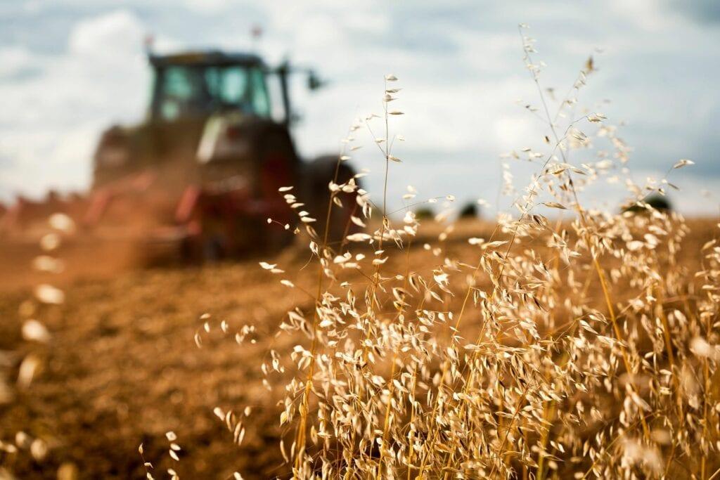a farm tractor on field